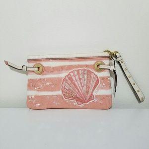 Coach Seashell Wristlet Clutch Handbag Purse Pink